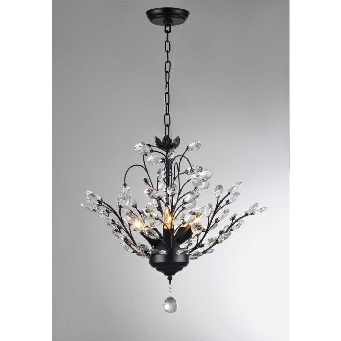 Null Aria 5 Light Black Crystal Leaves Chandelier With Shade