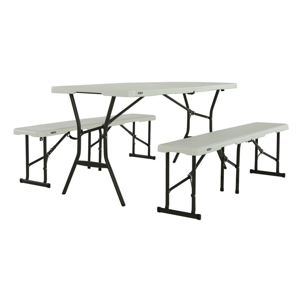 folding chair picnic table west elm everett review lifetime 3 piece pearl 5 ft fold in half with benches