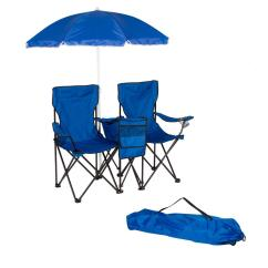 Beach Chairs With Shade Wood Arms Trademark Innovations Blue Double Folding Camp And Chair Removable Umbrella Cooler
