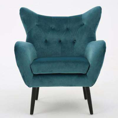 teal club chair bedroom for small space velvet accent chairs the home depot seigfried dark new arm