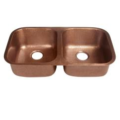 Copper Kitchen Sink Bosch Appliances Sinkology Undermount Handcrafted Solid 32 In Double Bowl Hammered Antique