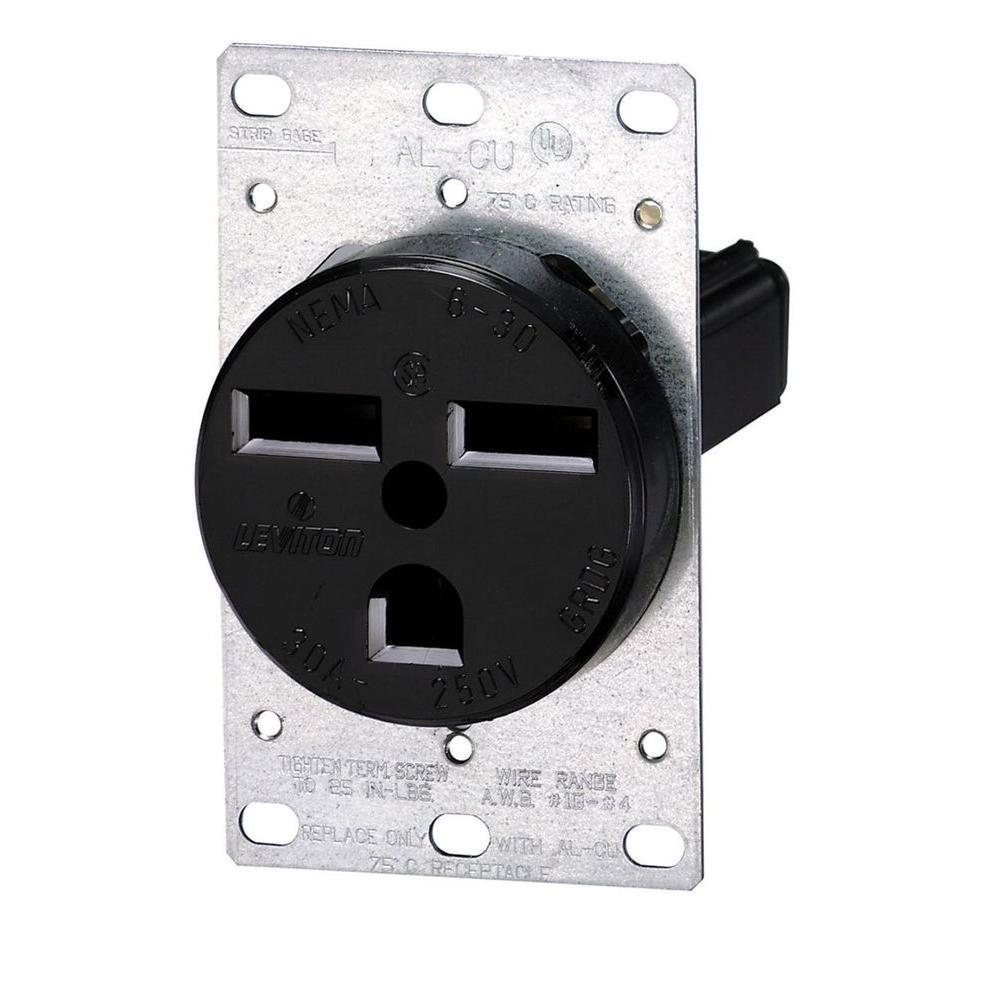 hight resolution of leviton 30 amp 2 pole flush mount shallow single outlet black