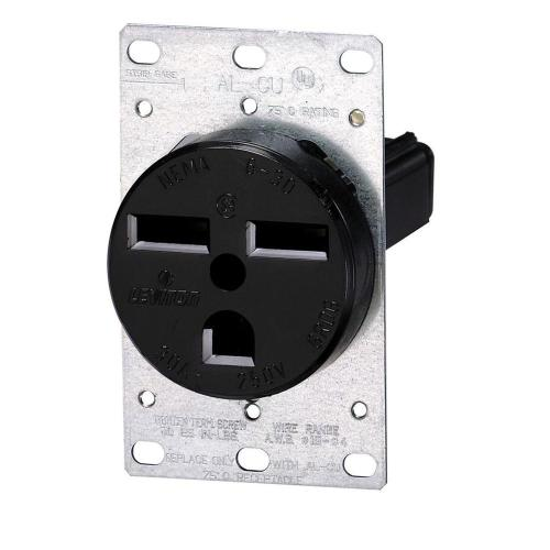 small resolution of leviton 30 amp 2 pole flush mount shallow single outlet black