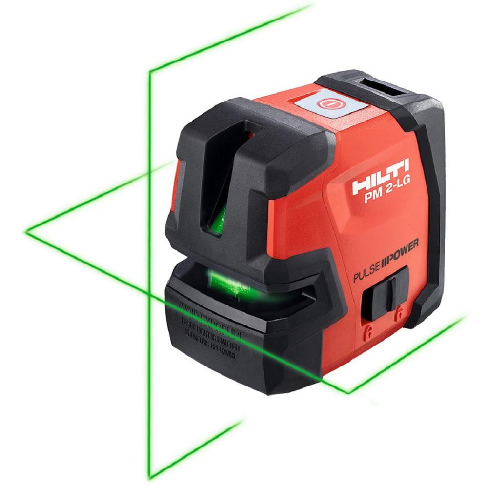 Hilti 66 Ft Pm 2 Lg Green Beam Line Laser Level With 2 Aa Batteries 2098521 The Home Depot
