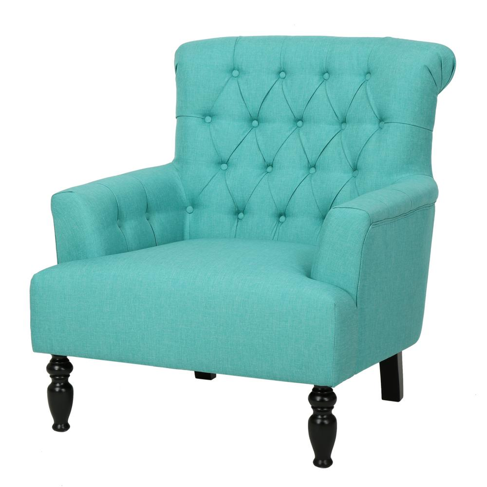teal colored chairs swivel jordans noble house byrnes tufted fabric club chair 296906 the home depot