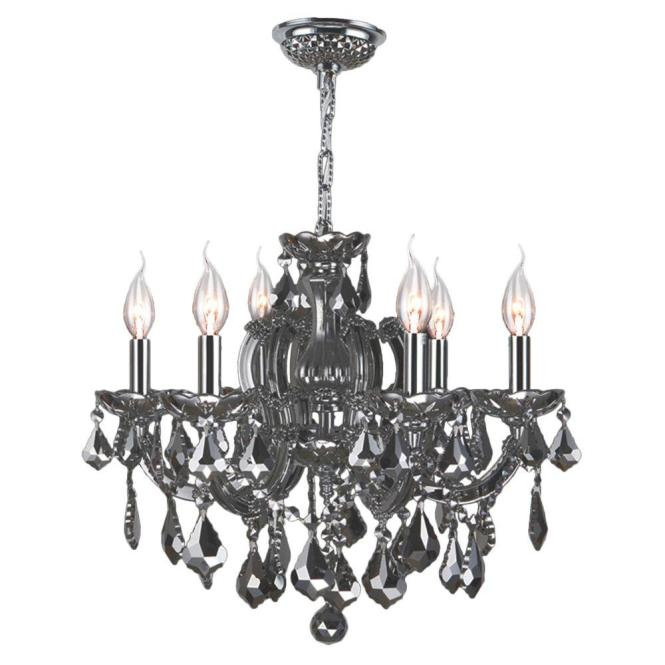 Catherine Collection 6 Light Chrome Crystal Chandelier