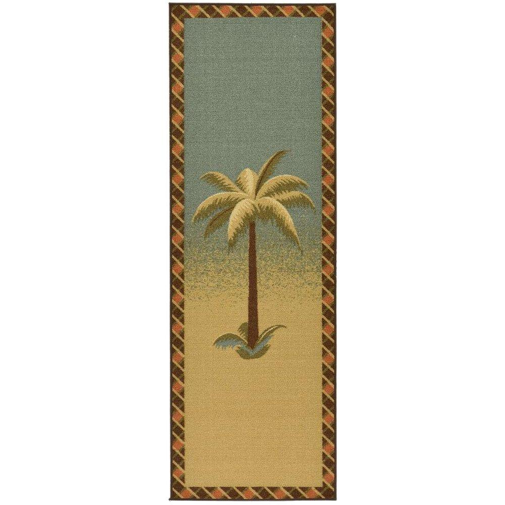 kitchen runner pacific fan ottomanson sara s collection palm tree design sage 1 ft 10 this review is from 8 in x 4 11