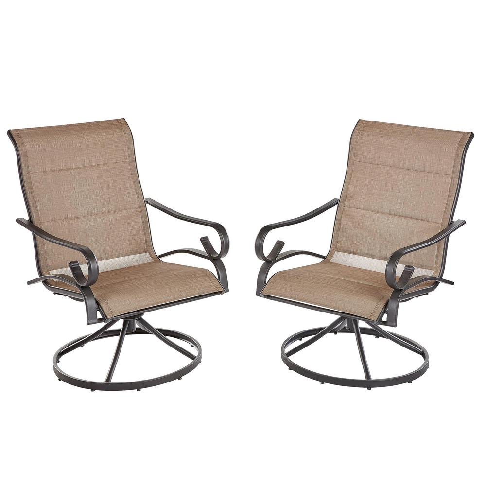 Swivel Rocking Chairs Hampton Bay Crestridge Padded Sling Swivel Outdoor Lounge Chair In Putty 2 Pack