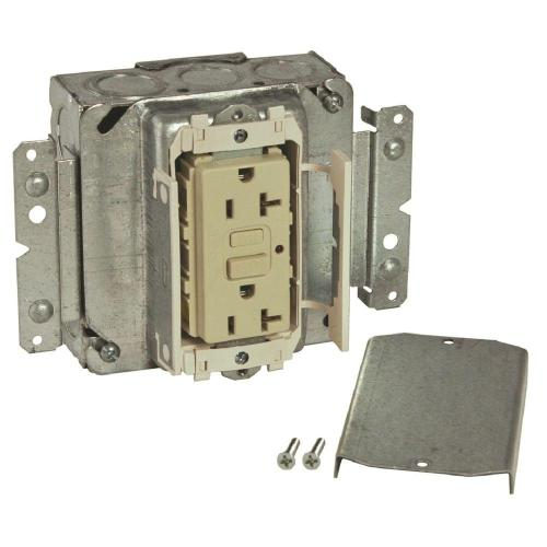 small resolution of 1 gang 20 amp prewired gfci outlet assemble box ivory 189mgivrnr the home depot