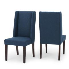 Navy Blue Dining Chairs Set Of 2 Vintage Steelcase Noble House Braelynn Fabric Wing Back Chair