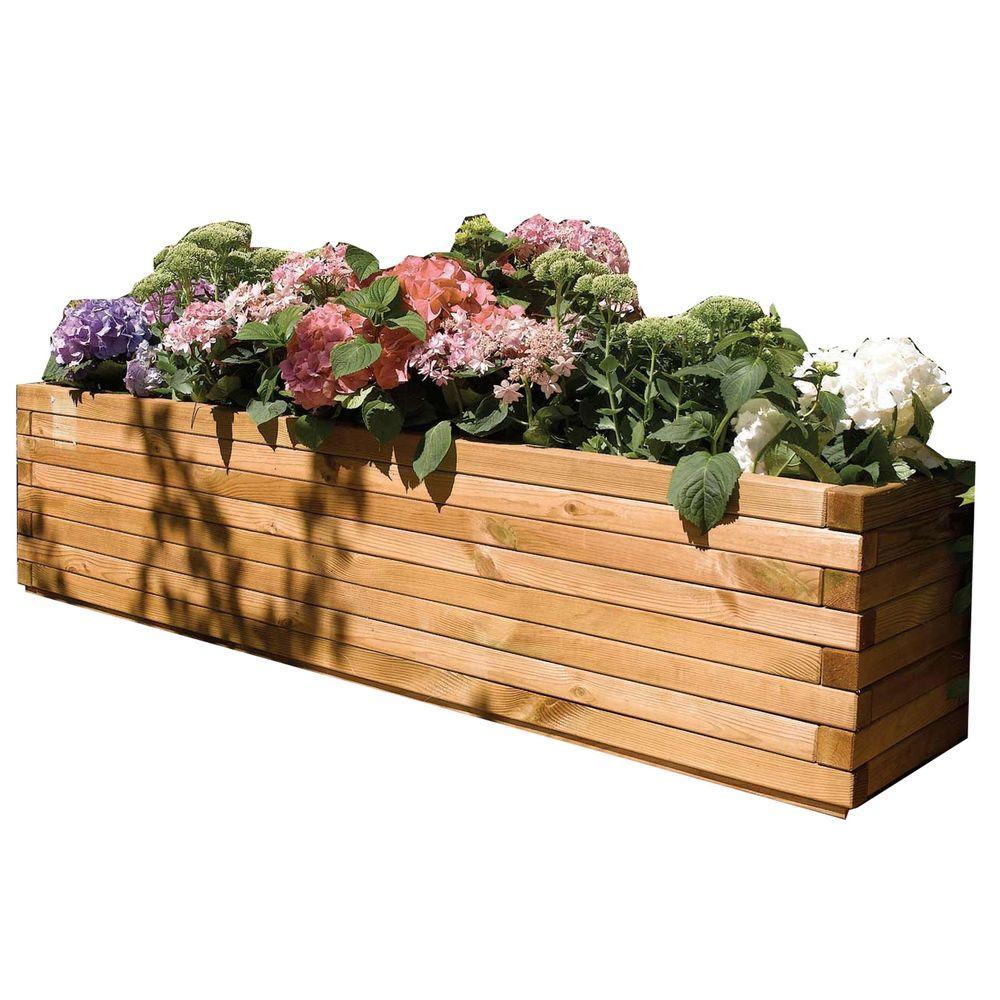 Bosmere English Garden 70 in W x 15 in D x 15 in H OverSized Rectangular Wood PlanterA059