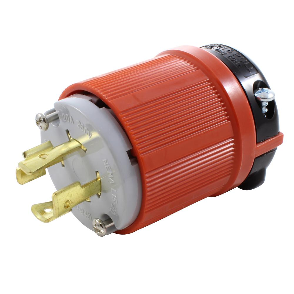 hight resolution of nema l15 20p 3 phase 20 amp 250 volt 4 prong assembly locking male plug