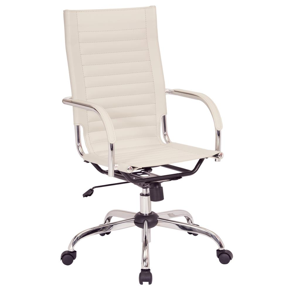 office chair base distressed leather work smart trinidad high back with fixed padded arms and chrome accents in cream fabric tnd940a crm the home depot