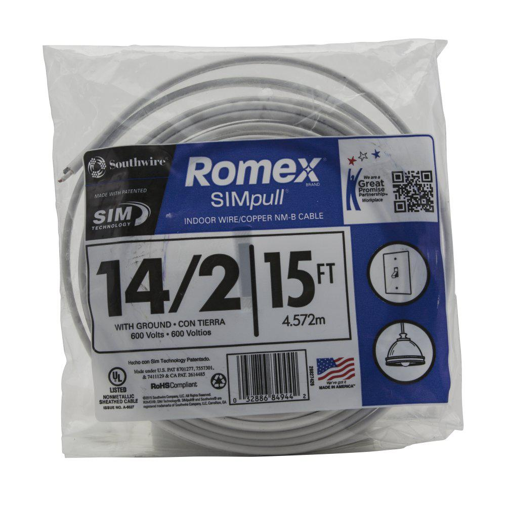 Electrical Cable Copper Electrical Wire Gauge 14 2 Romex Simpull