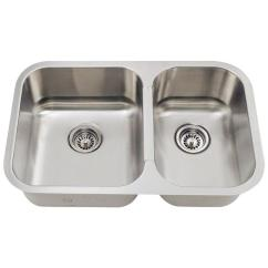 Small Kitchen Sinks Knoxville Cabinets Polaris Undermount Stainless Steel 28 In Double Bowl Sink