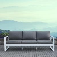 Real Flame Baltic White Aluminum Outdoor Sofa with Gray ...