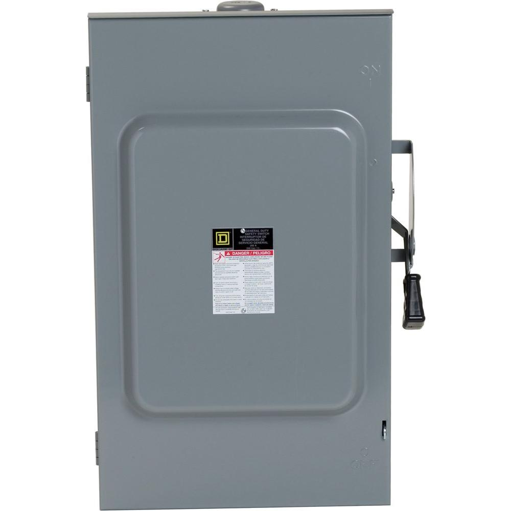 medium resolution of square d 200 amp 240 volt 3 pole 3 phase non fusible outdoor general 250 amp fuse disconnect box