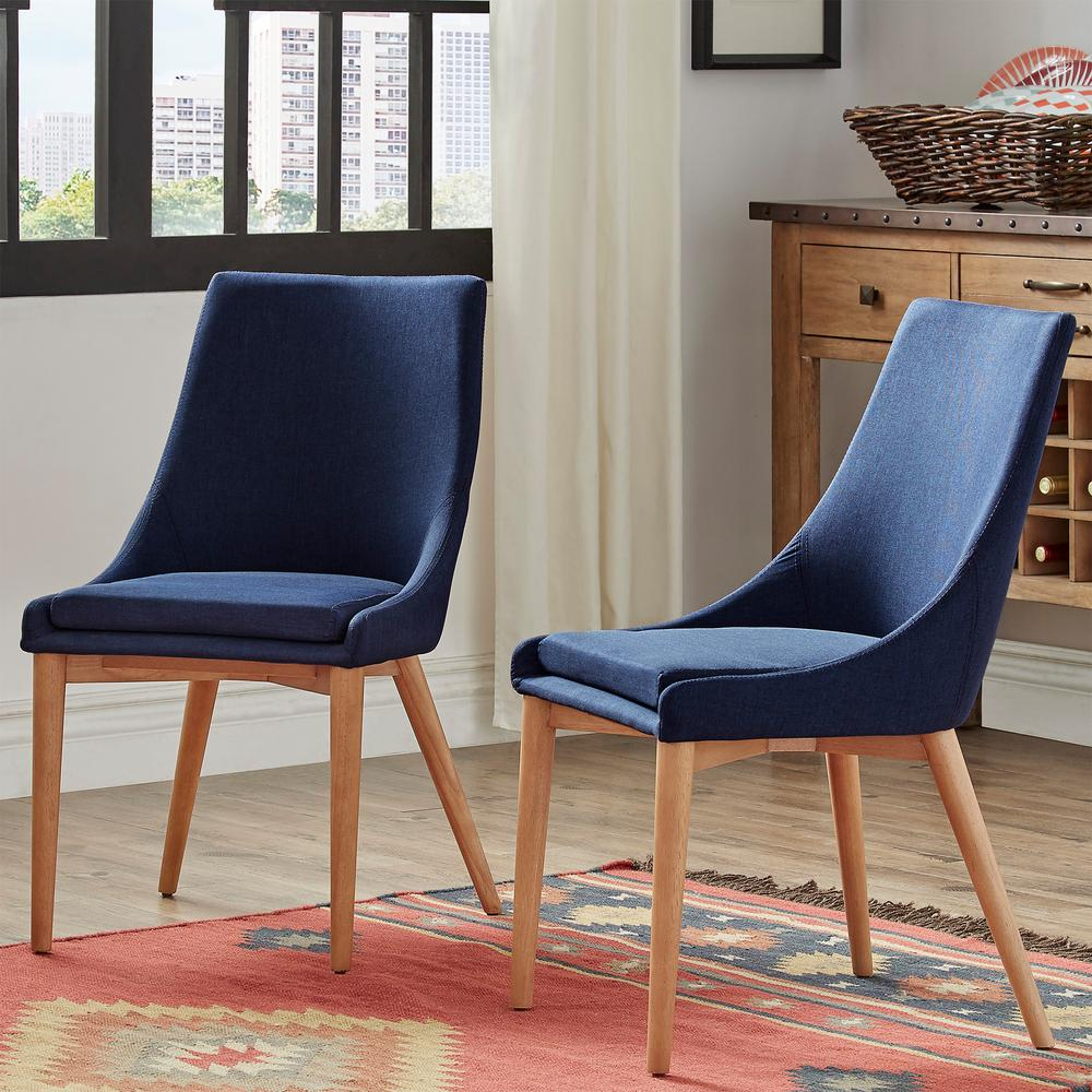 Blue Dining Chairs Homesullivan Nobleton Twilight Blue Linen Dining Chair Set Of 2
