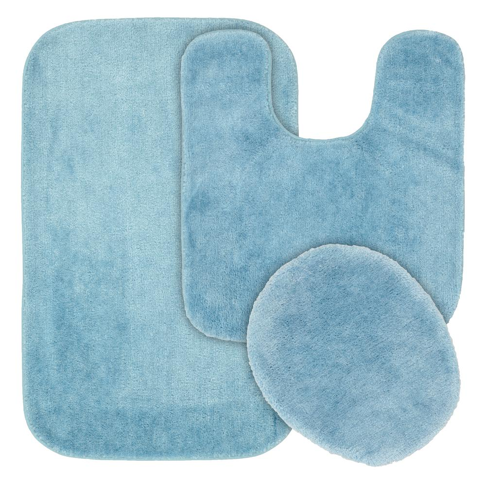 garland rug traditional basin blue 3 piece washable bathroom rug set ba010w3p02j4 the home depot