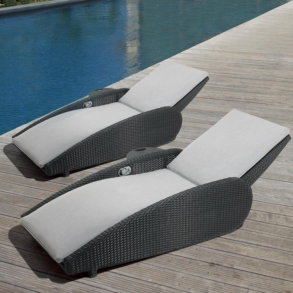Outside Lounge Chairs Ove Decors Sevilla Oversized Reclining Aluminum Outdoor Lounge Chair With Sunbrella Gray Cushions 2 Pack