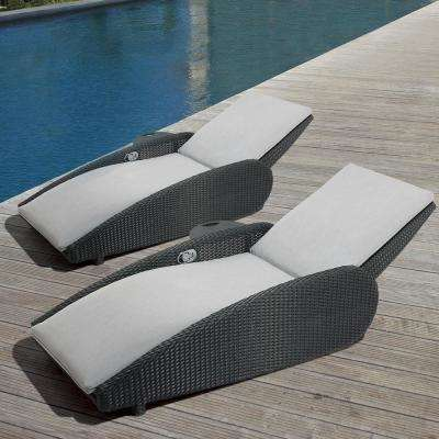 home depot lounge chairs tufted dining chair reclining armchair outdoor patio the sevilla oversized aluminum with sunbrella gray cushions 2 pack