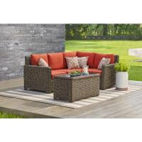 Hampton Bay Mill Valley 4-Piece Patio Sectional Set with ...
