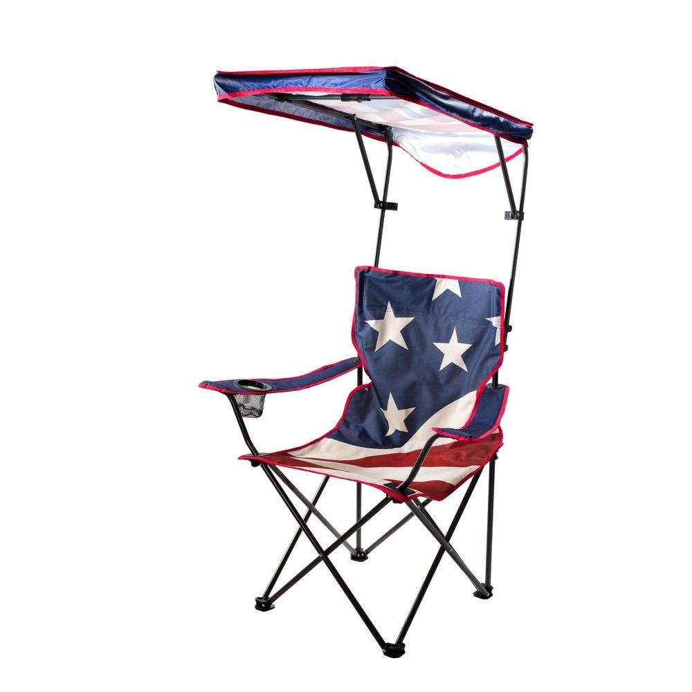 Quik Shade US Flag Folding Camp Chair with Adjustable Sun
