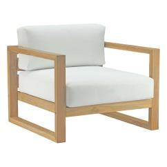 Teak Lounge Chair Covers Rental Calgary Modway Upland Outdoor Patio In Natural With White Cushions