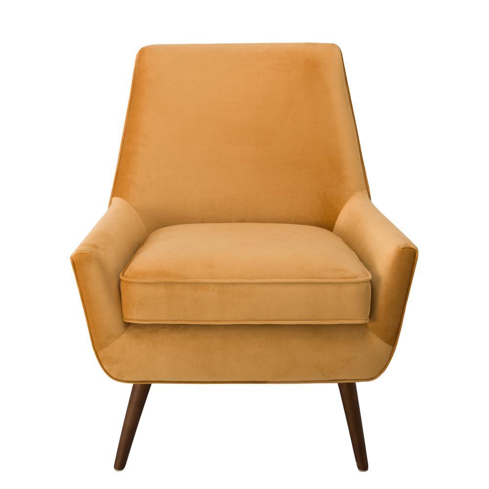 modern accent chairs diy bean bag chair no sew homepop ochre gold colored velvet dean