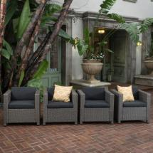 Noble House Puerta Mix Black Stationary Wicker Outdoor