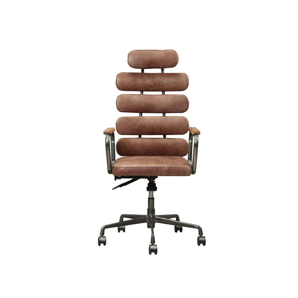 wood and leather executive office chairs folding camping acme furniture calan vintage whiskey top grain chair 92110 the home depot