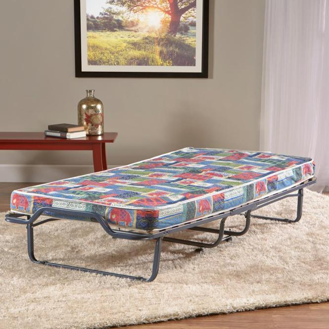 Innere Luxury Products Firenze Roll Away Folding Guest Bed With Metal Frame And Memory Foam Mattress Elephant Print Cover F The