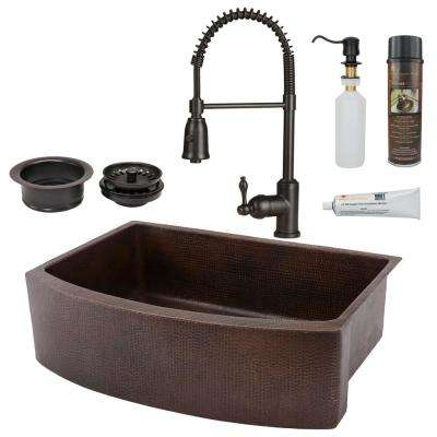 oil rubbed bronze kitchen sink remodel prices sinks the home depot rounded single bowl farmhouse apron front