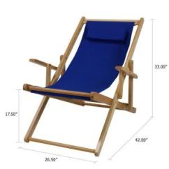 Royal Blue Chairs Stand Chair Covers Casual Home Natural Frame And Canvas Solid Wood Sling 4