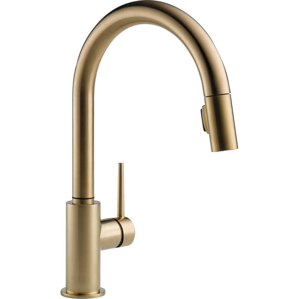 brass faucet kitchen wall mount sink delta trinsic single handle pull down sprayer with magnatite docking in arctic stainless 9159 ar dst the home depot
