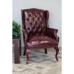 Oxblood Leather Wing Chair Desk Eames Boss Vinyl Wingback Guest B809 By The Home Depot
