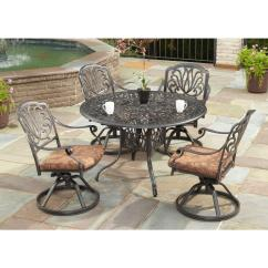 Table With Swivel Chairs Chair And A Half Sleeper Sofa Home Styles Floral Blossom 48 In Round 5 Piece Patio Dining Set Burnt Sierra Leaf Cushions