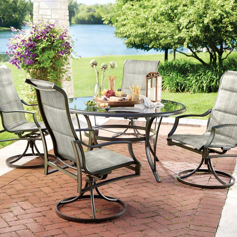Patio Furniture Table And Chairs Hampton Bay Statesville 5 Piece Padded Sling Patio Dining Set With 53 In Glass Top