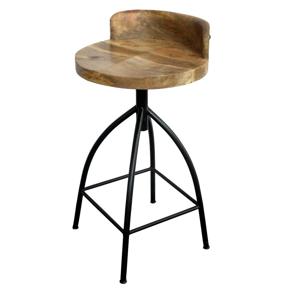 counter height chair office chairs online the urban port 26 in brown and black industrial style adjustable swivel stool