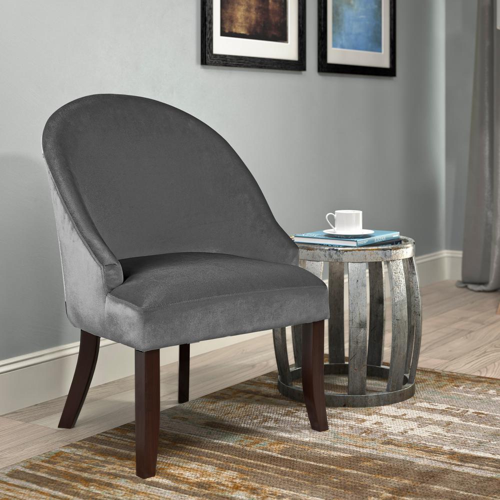 CorLiving Antonio Grey Velvet Curved Accent ChairDAD321