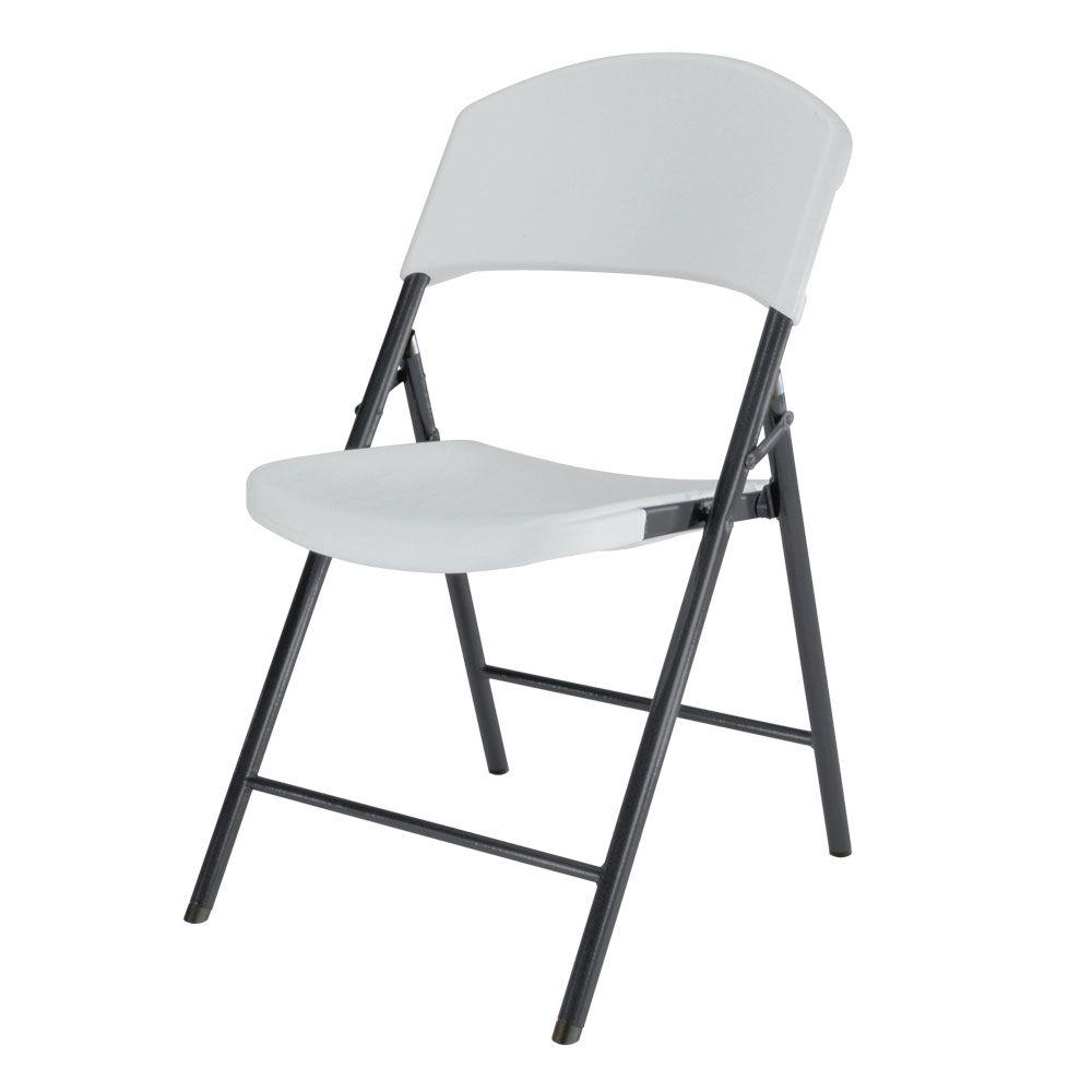 Lifetime Chair Lifetime White Plastic Seat Metal Frame Outdoor Safe Folding Chair Set Of 4
