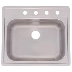 22 Inch Kitchen Sink Replace Cabinet Doors Kindred Drop In Stainless Steel 25 4 Hole Single Bowl