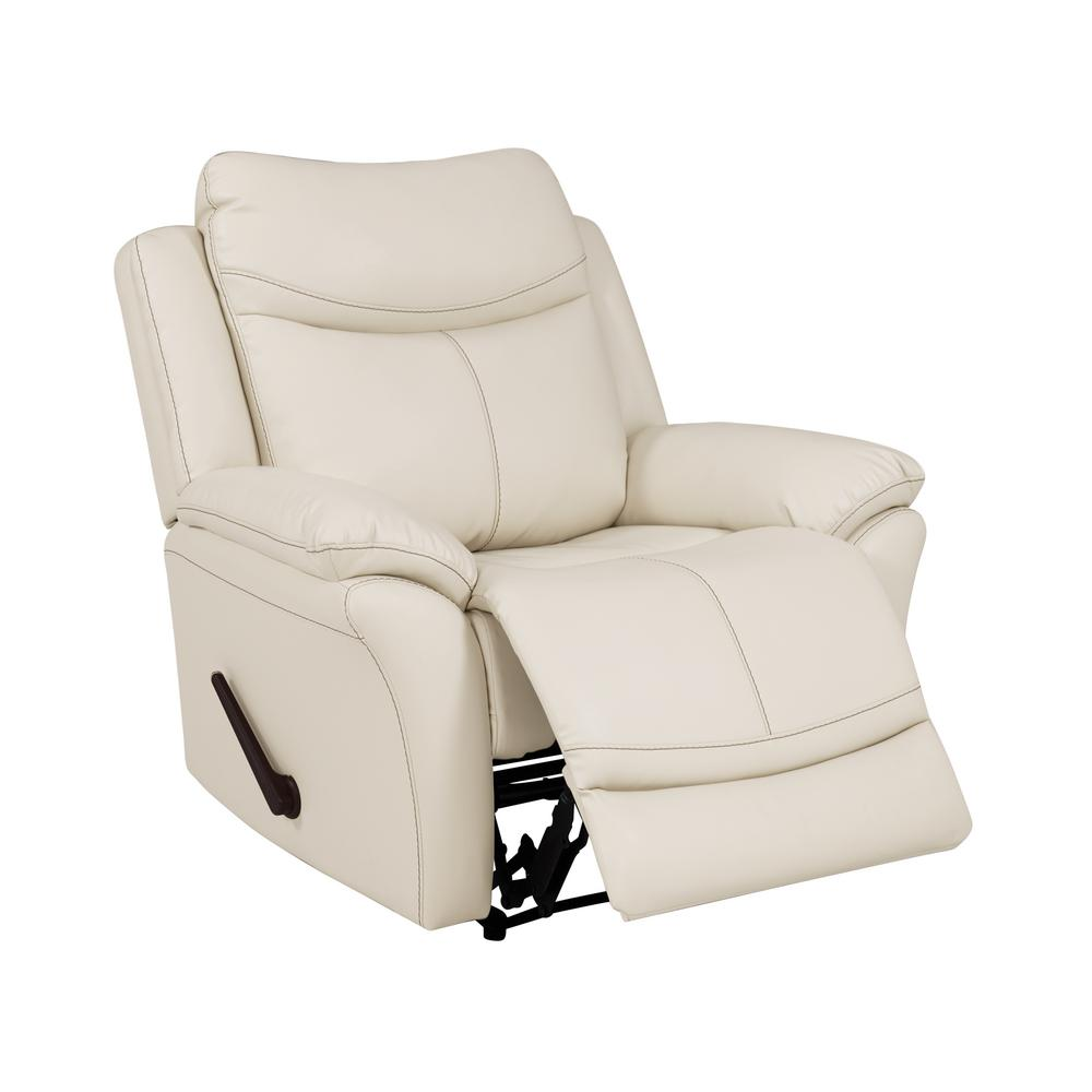 wall hugger recliner chair lowes porch chairs prolounger off white almond tuff stuff fabric reclining