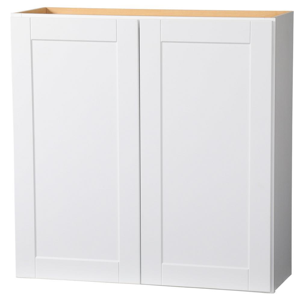 Hampton Bay Shaker Assembled 36x36x12 In Wall Kitchen Cabinet In