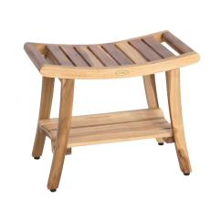 Teak Shower Chairs With Arms Yoga Ball Ecodecors Earthyteak Harmony 24 In Bench Shelf And Liftaide