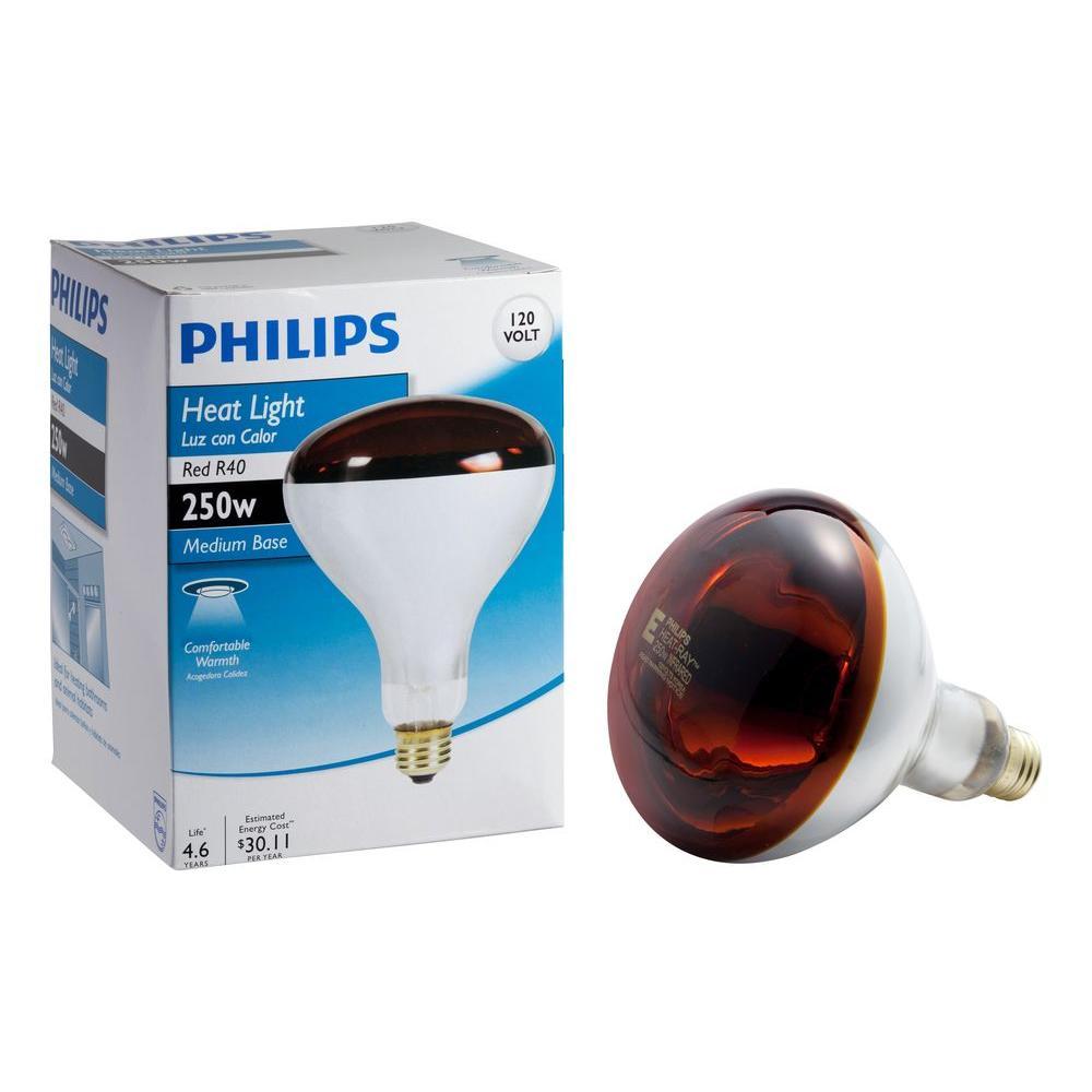 Philips 250Watt Incandescent R40 Red Heat Lamp Light Bulb