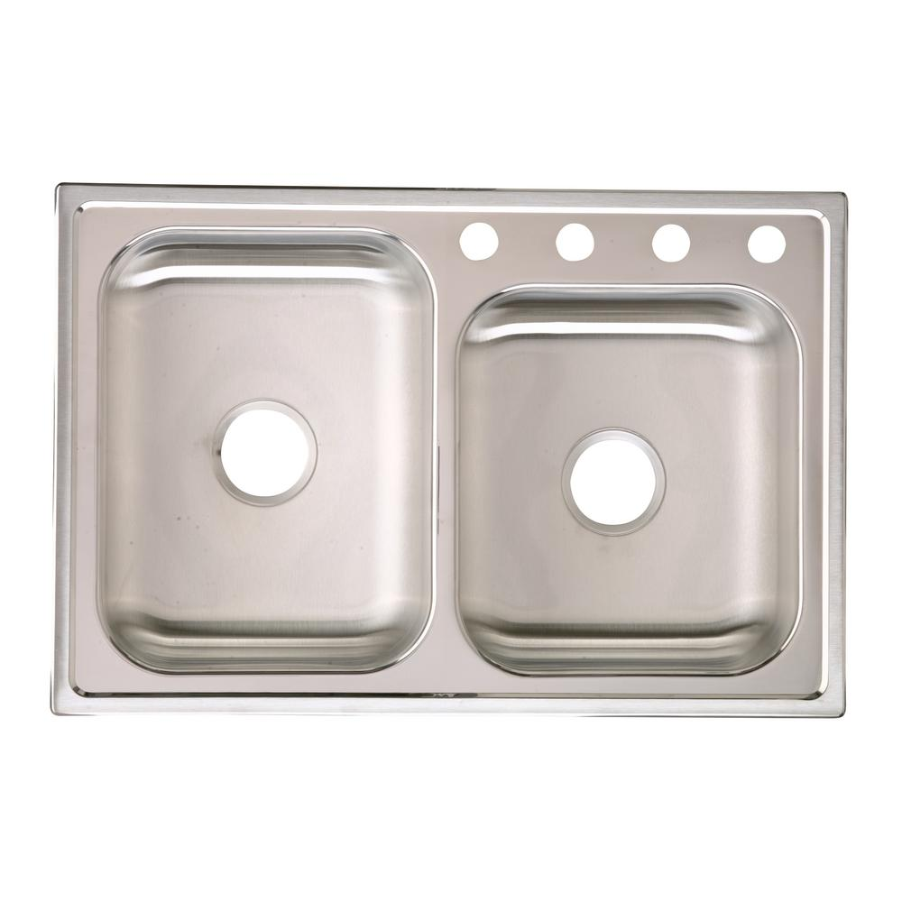 kitchen sink capacity ceiling light fixtures elkay signature drop in stainless steel 33 4 hole double bowl