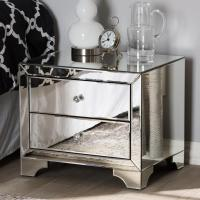 Baxton Studio Farrah 2-Drawer Silver Metallic Nightstand ...