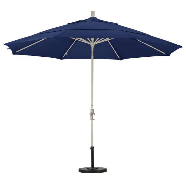 California Umbrella 11 Ft. Fiberglass Collar Tilt Double Vented Patio In Navy Blue