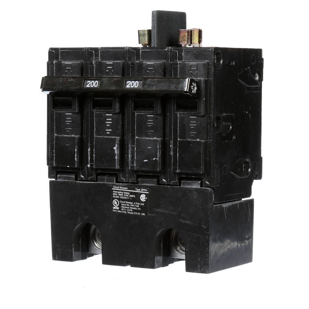 medium resolution of siemens 200 amp double pole 22ka type qpph circuit breaker